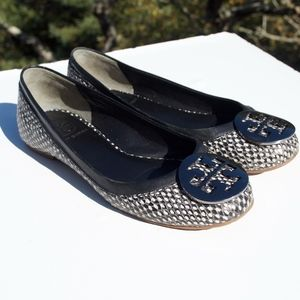 Tory Burch Reva Black White Snakeskin Polka Dot 5